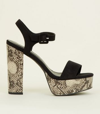 Black Faux Snakeskin Open Toe Platform Sandals