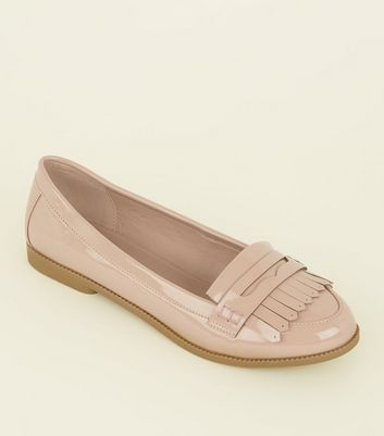 Wide Fit Nude Patent Fringe Front Loafers by New Look