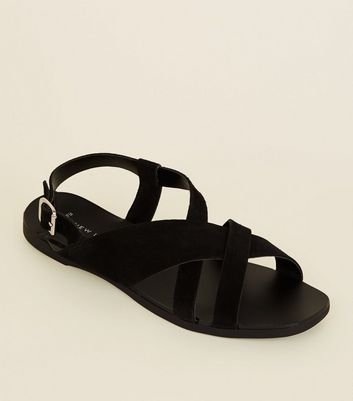 Wide Fit Black Suede Cross Strap Flat Sandals