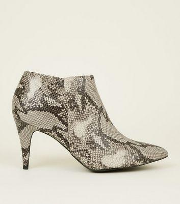 White Faux Snakeskin Stiletto Heel Ankle Boots