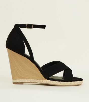 Black Suedette Wooden Wedge Sandals