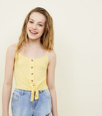 Girls Pale Yellow Ribbed Tie Front Cami