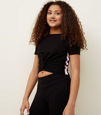 Teens Black Stripe Side Ribbed Twist Front T-Shirt
