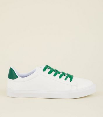 Green and White Colour Block Lace Up Trainers