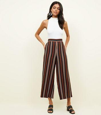 Tall Black Stripe Crop Trousers