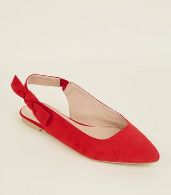 Red Suedette Bow Slingbacks