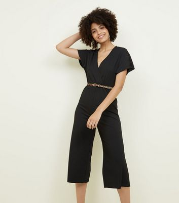 Black Ribbed Belted Culotte Jumpsuit