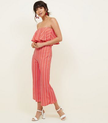 QED Red Stripe Bardot Jumpsuit