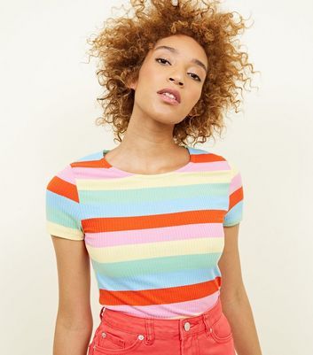 Rainbow Stripe Ribbed T Shirt by New Look