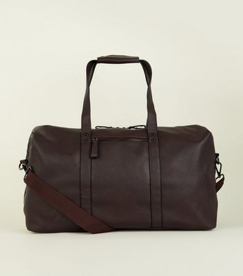 Dark Brown Leather-Look Studded Holdall