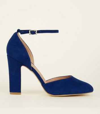 Wide Fit Bright Blue Suedette Block Heels