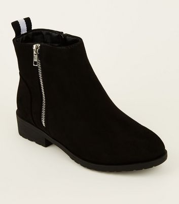 Wide Fit Black Ribbon Tab Back Ankle Boots