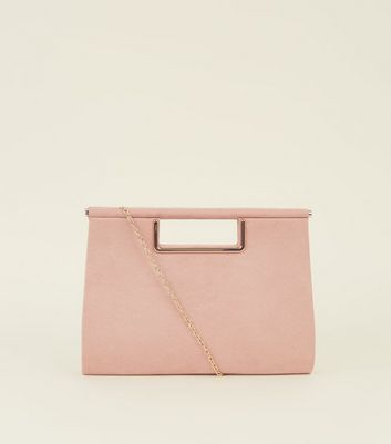 Nude Metal Handle Clutch Bag