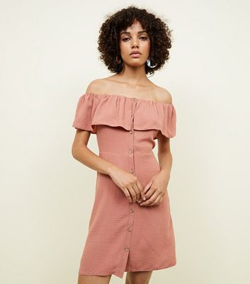 Rust Linen-Look Button Through Bardot Dress