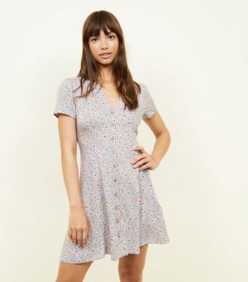 New Look - Pale Blue Ditsy Floral Button Front Tea Dress - 1