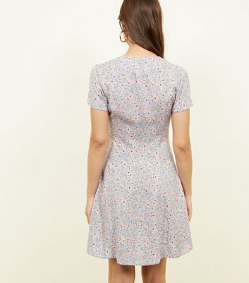New Look - Pale Blue Ditsy Floral Button Front Tea Dress - 3