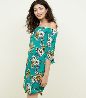 Dark Green Floral Tie Sleeve Bardot Dress