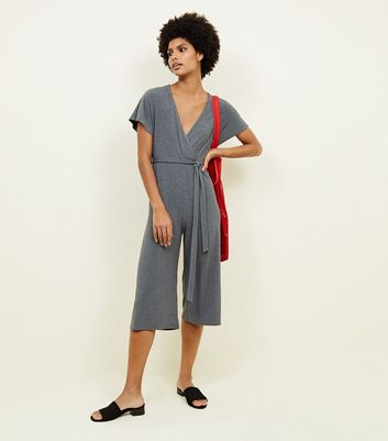 Grey Brushed Ribbed Jersey Culotte Jumpsuit