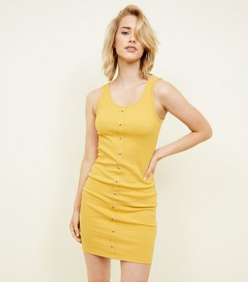 Mustard Ribbed Button Front Bodycon Mini Dress