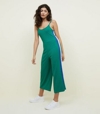 Green Side Stripe Ribbed Jersey Jumpsuit