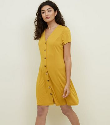 Mustard Crepe Jersey Button Front Dress