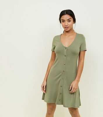 Petite Khaki Button Front Mini Swing Dress