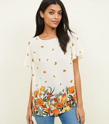 Cream Floral Border Print Flutter Sleeve Top