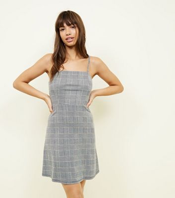 Grey Prince of Wales Check Strappy Dress