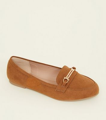 Wide Fit Tan Suedette Bar Trim Loafers by New Look