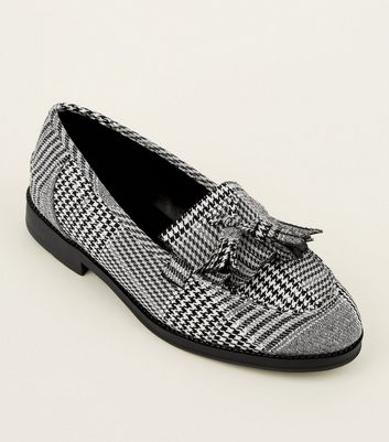 Black Check Printed Loafers