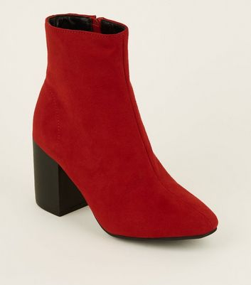 Red Suedette Block Heel Ankle Boots by New Look