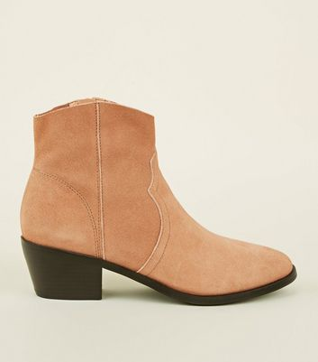 Pink Suede Western Ankle Boots