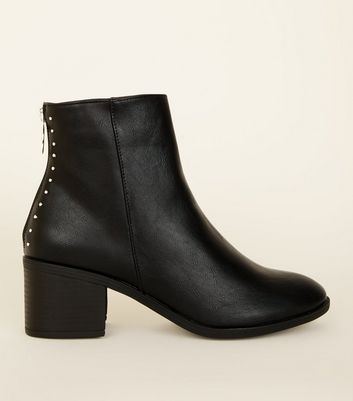 Black Stud Trim Block Ankle Boots