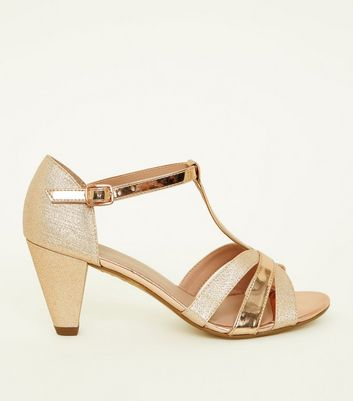 Girls Gold Contrast Glitter Cone Heel Sandals