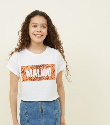 Teens White Malibu Leopard Print Box T-Shirt