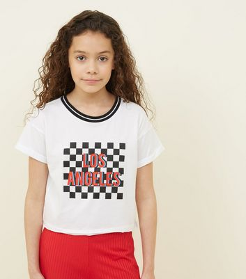 Teens White Los Angeles Checkboard T-Shirt