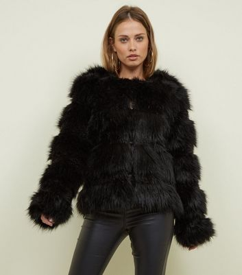 Black Pelted Faux Fur Coat by New Look