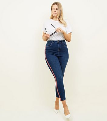Curves Blue Side Stripe High Waist Super Skinny Jeans by New Look
