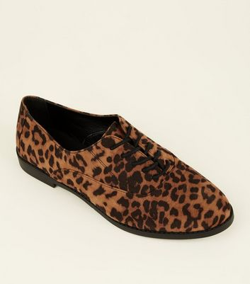 Stone Leopard Print Suedette Lace-Up Shoes