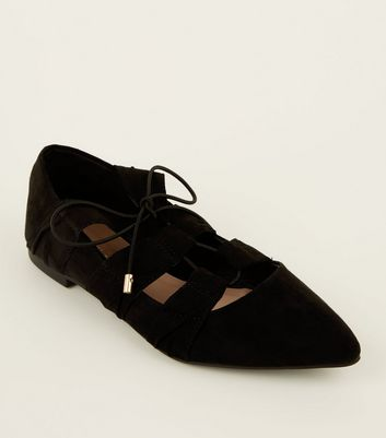 Black Suedette Strappy Tie Front Flats by New Look