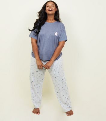 Curves Blue Star Print Pyjama Set