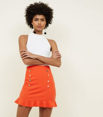 Red Button Front Frill Hem Skirt