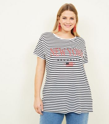Curves White Stripe New York Print T-Shirt