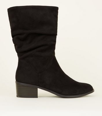 Girls Black Suedette Slouch Calf Boots