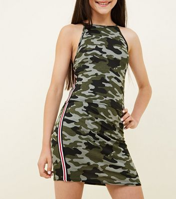 Girls Green Camo Stripe Side Tube Skirt