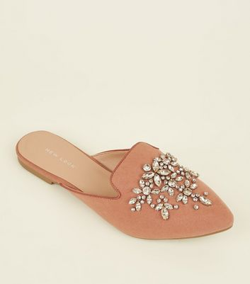 Pink Suedette Embellished Mules by New Look