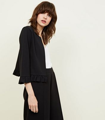 Black Frill Hem Jacket by New Look
