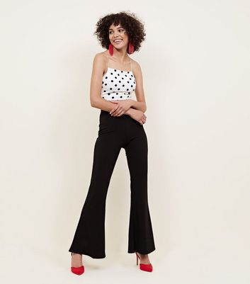 Black Ribbed Trousers by New Look