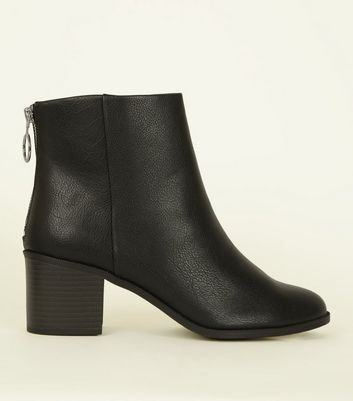 Wide Fit Black Block Heel Ankle Boots
