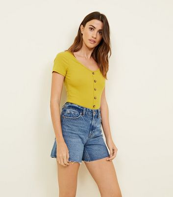 Bright Yellow Button Through Ribbed T-Shirt